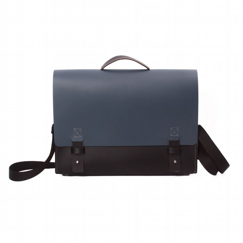 Recycled Leather - New York  Briefcase - Black & Petrol